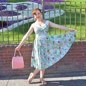 1950s pinup Low Back Flamingo Dress